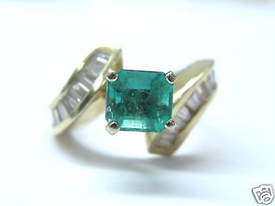 AU2724.40 • Buy Fine 14KT Gem Colombian Emerald Diamond Solitaire With Accents Ring 2.71Ct