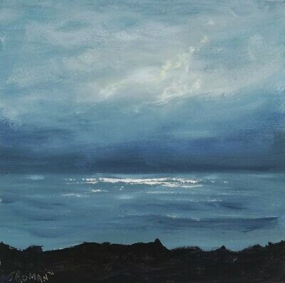 £45 • Buy 'Looking Out To Sea' Atmospheric Seascape Abstract  Original Acrylic Painting