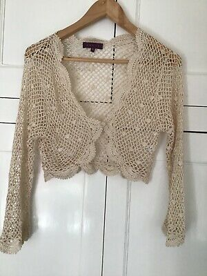 £5.50 • Buy Cream Lace Shrug Cardigan By DEBUT Size M Wedding Occasion
