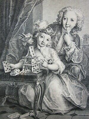 £5 • Buy François Joullain (1697–1778), Engraving C.1725, STACK Of CARDS, 300 Years Old