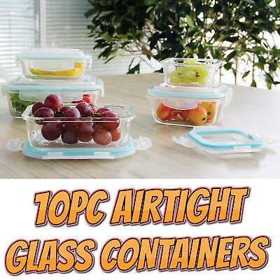 £13.95 • Buy 5 Pack Glass Food Storage Containers With Airtight Lids BPA Free Lunch Tubs