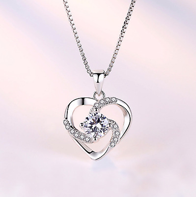 £2.97 • Buy New Heart 925 Sterling Silver Pendant Chain Necklace Womens Jewellery Gift UK