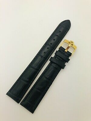 £24.99 • Buy 18mm Replacement Omega Black Genuine Leather Watch Strap With Gold Pin Buckle