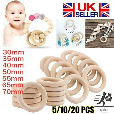 £2.60 • Buy 20PCS Natural Wooden Baby Teething Rings Teethers For Necklace Bracelets Crafts