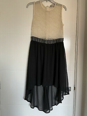 £5 • Buy Hearts And Bows Dress 12 Black And Cream Lace Top Sheer Hi-low