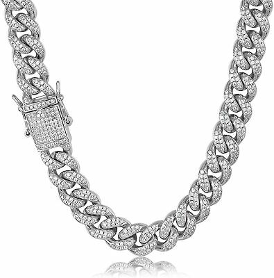 $48.99 • Buy Mens Miami Cuban Link Chain Bracelet  Iced CZ Out White Gold Plated Cuban Chain