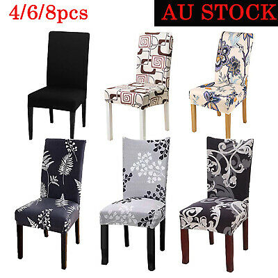 AU3.99 • Buy 1-8 PCS Dining Chair Covers Spandex Cover Stretch Washable Wedding Banquet Party