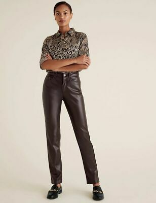 £16 • Buy New M&S Collection Sienna Brown Faux Leather Straight Leg Trousers Sz UK 12 & 14