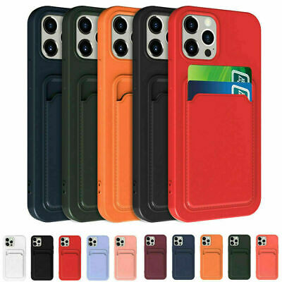 AU7.46 • Buy Soft Silicone Case Cover With Card Slot Holder For IPhone 12 Pro Max XR 7 Plus 8