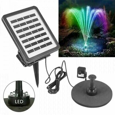 £28.86 • Buy Solar Power Water Pump With LED Light Garden Outdoor Pond Fountain Pool Battery