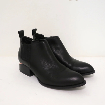 AU292.50 • Buy Alexander Wang Kori Ankle Boots Black Leather Size 37 Rose Gold Cutout-Heel