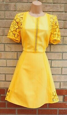 £29.99 • Buy Asos Yellow Premium Lace Crochet Insert Tailored Skater Party A Line Dress 14