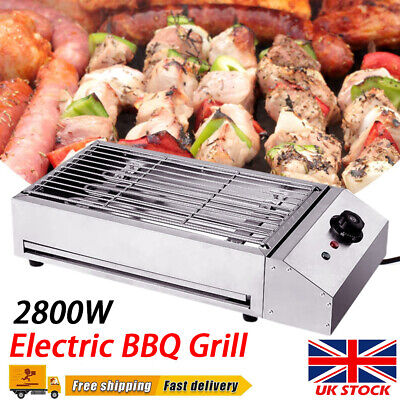 £32.97 • Buy Commercial Electric Barbecue Grill BBQ Griddle Kitchen Stainless Steel 2800W UK