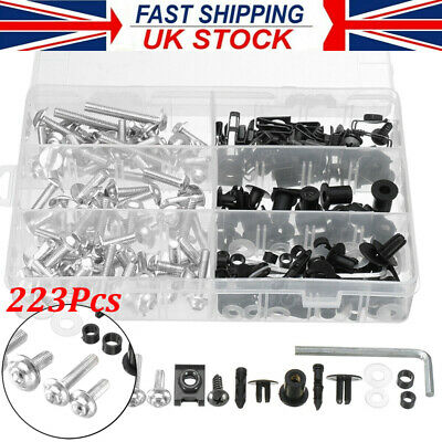 £16.79 • Buy 223x Motorcycle Aluminum Fairing Bolts Kit Body Fasteners Clip Screws Silver NEW