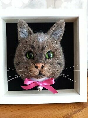 £35 • Buy Ooak Needle Felted Framed Cat Animal Mouse Handmade By Nicky 🐈❤