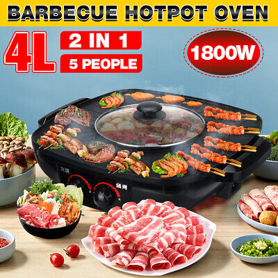 AU42.56 • Buy 4L Electric BBQ Hotpot Grill Oven Smokeless Hot Pot Barbecue Pan Machine 2 In