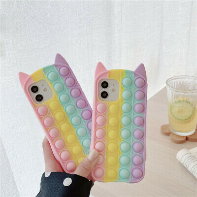 £6.99 • Buy Cat Ears And Whiskers Fidget Push Pop Bubble Phone Case For IPhones 6-12pro