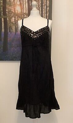 £12 • Buy Marks And Spencer Size 12 Beach Wear Strappy Cotton Sundress Black ~bnwt~