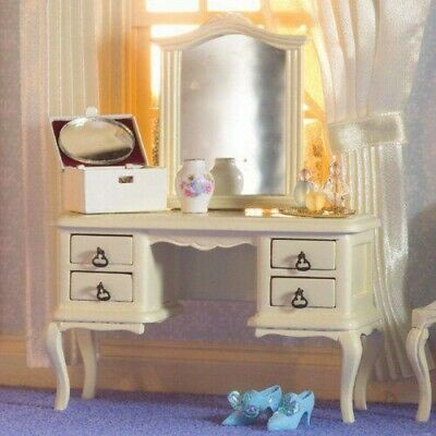 £22.99 • Buy 1/12 Scale Dolls House Emporium French Style Cream Dressing Table & Mirror 5690