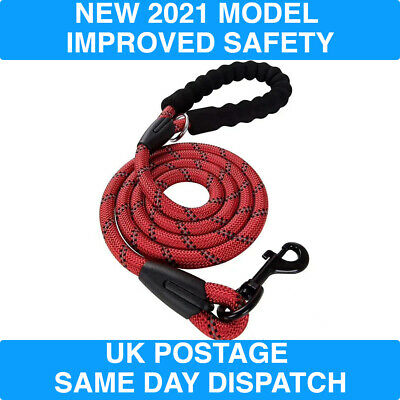 £6.50 • Buy Dog Lead Rope, NEW MODEL LEASH, Soft Padded Handle, Reflective Threads 5FT 6FT
