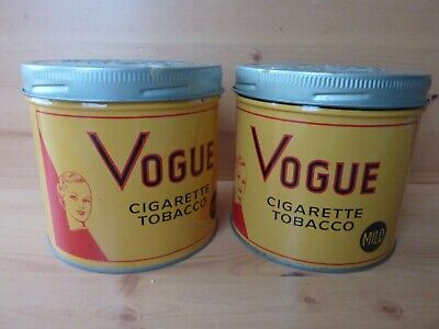 $ CDN30 • Buy VOGUE Cigarette Tobacco Cans X2 Very Nice Pair Of Vintage Tins Made In Canada