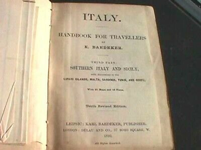 £10 • Buy Baedeker's Handbook For Travellers - Southern Italy & Sicily (1890)