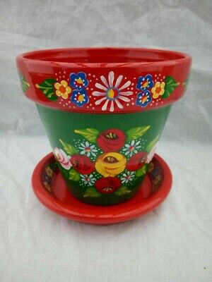£11 • Buy Green/Red Terracotta Pot And Saucer Roses And Castles Hand Painted Bargeware#034