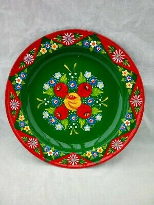 £16 • Buy Red / Green Roses And Castles Hand Painted Enamel Dish Barge Ware #01