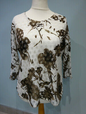 £12.99 • Buy Forever By Michael Gold Brown Cream Top With Lace Overlay Size Large 3/4 Sleeve