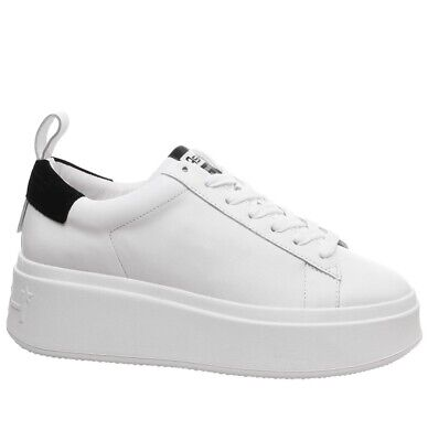 £64.99 • Buy Ash Moon White Leather Platform Trainers Sneakers Lace Up Trendy Shoes 6 39