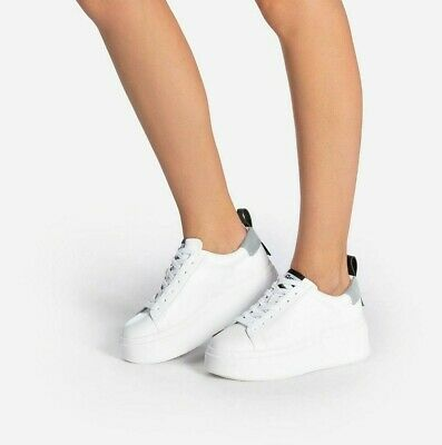 £64.99 • Buy Ash Moon White Sneakers Leather Platform Trainers Lace Up Trendy Shoes 6 39