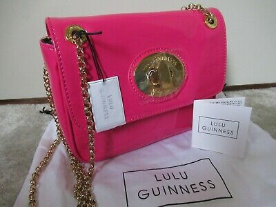 £106.99 • Buy LULU GUINNESS London Small Eyelet Annabelle Bag In Shocking Pink ~ Free Post