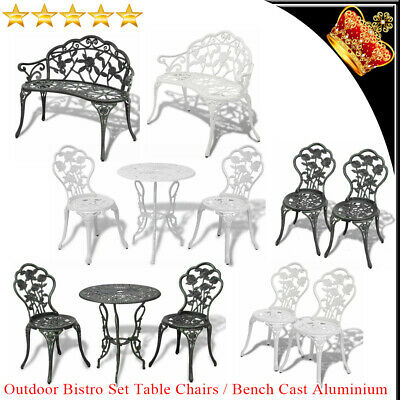 AU244.19 • Buy Outdoor Setting Bistro Set Garden Patio Dining Table Chairs Bench Cast Aluminium