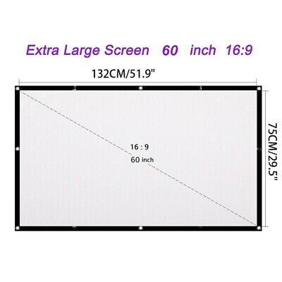 AU18.11 • Buy 3D Foldable Projector Screen Home Theatre Outdoor Projection 60/72/100/120 16:9