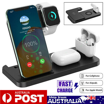 AU26.99 • Buy QI Wireless Charger Charging Dock Station For Apple Watch IPhone AirPod 1 2 Pro