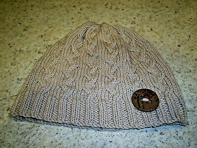 £12.99 • Buy Ladies' Hand Knitted, Cable Beanie Hat With Decorative Button, In Beige - S/M