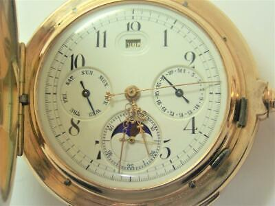 £18117.19 • Buy Antique 14K Minute Repeater MOON PHASE Chronograph Triple Calendar Pocket Watch