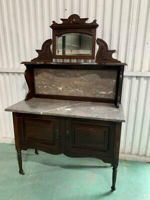 AU399 • Buy H28026 Vintage Marble Topped Wash Stand Cupboard Sideboard Cabinet