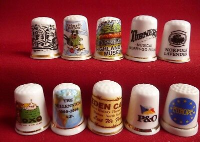 £7.99 • Buy Set Of 10 Mixed Advertising P&Q,Europe,Eden Camp,Oxo, And More Thimbles - Set 17