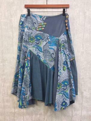 £15 • Buy Joe Browns Skirt Size 12 Indian Boho Hippie Blue Floral Paisley Lined Hanky Type