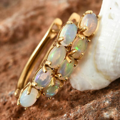 £32 • Buy TJC Opal Hoop Earrings With Clasp Lock 14ct Gold Platinum Over Silver 1.35 Ct