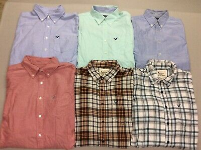 $39.99 • Buy Lot Of 6 American Eagle Button Down Solid Check Casual Dress Shirts Mens Medium