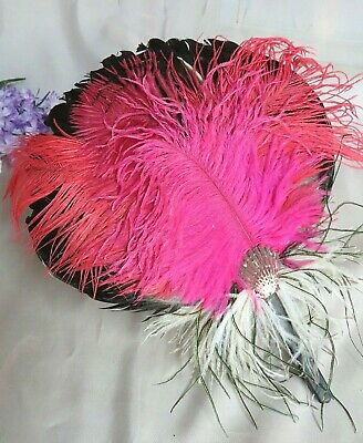£35.93 • Buy VINTAGE Feather Hand FAN Concave WOOD Handle OSTRICH Peacock PLUMES 13 X 10.5