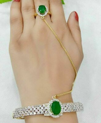 £14.61 • Buy Indian AD Gold Plated Stone Green Bracelet With Ring Adjustable Fashion Jewelry