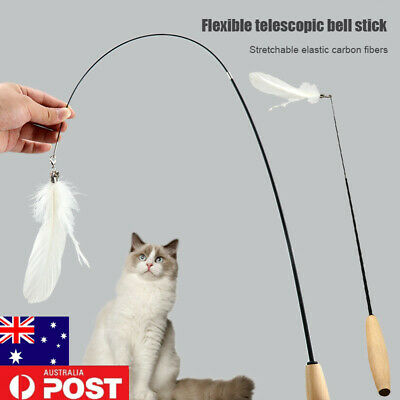 AU10.13 • Buy Cat Toys Feather Wand Stick Wire Teaser Kitten Dangle Interactive Play AU