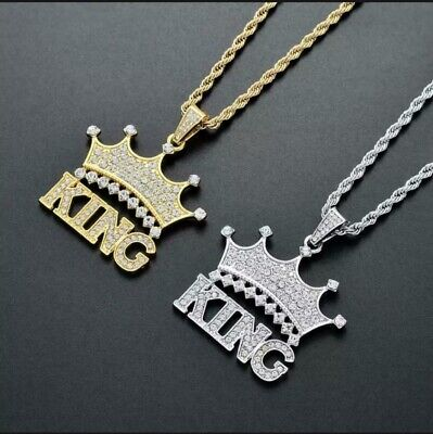 £6.99 • Buy King Crown Necklace Pendant Gold Silver Iced Out Hip Hop Jewelry Bling Chain