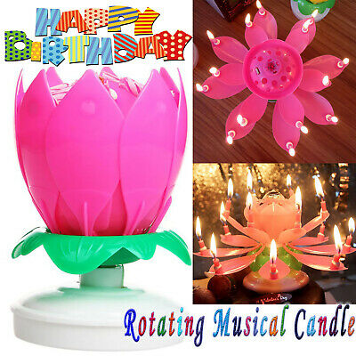 $ CDN7.54 • Buy Rotating Lotus Candle Birthday Cake Flower Musical Music Candles (Pink Color)