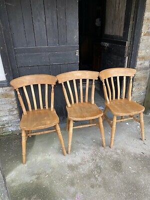 £85 • Buy 3 X Solid Beech Slat Back Farmhouse Country Kitchen Dining Chairs Ideal Paint