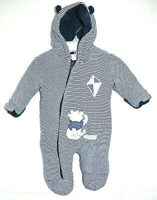 £5.20 • Buy Baby Boys Blue Striped Disney Pooh Bear Padded All-in-one Snowsuit 0-3 Months