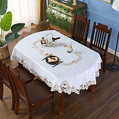 AU36.99 • Buy Vintage Embroidered Lace Floral Tablecloth Oval Dining Table Cloth Cover Wedding
